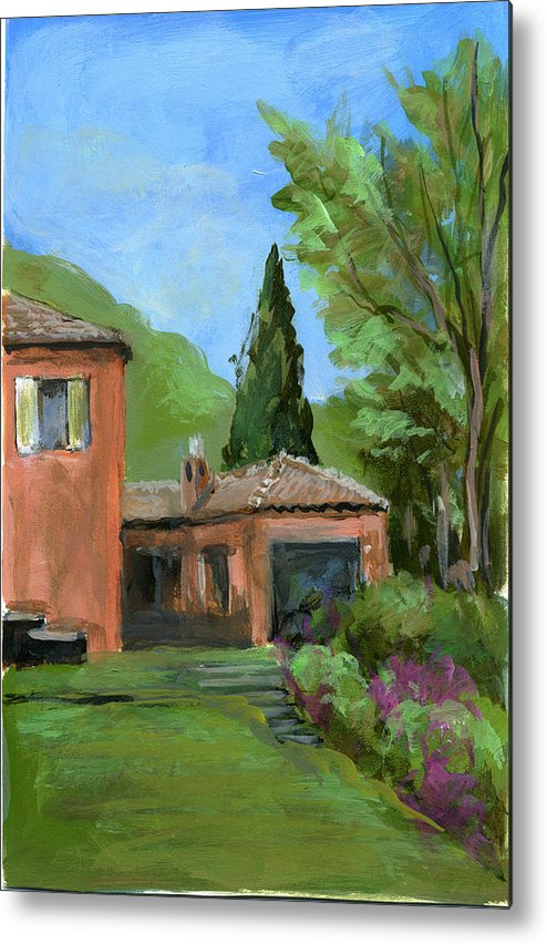Landscape Metal Print featuring the painting Italy001 Somewhere In Sicily by Silvana Siudut