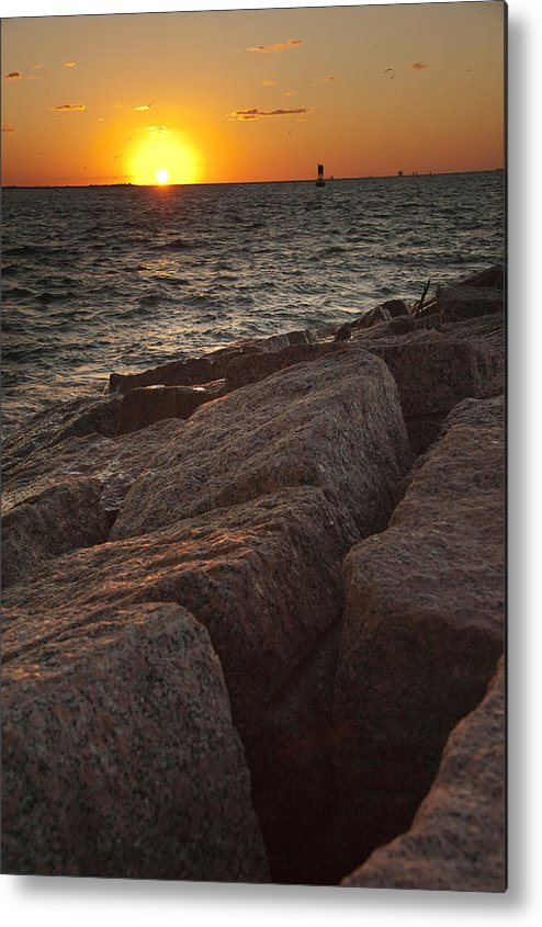 Sunset Metal Print featuring the photograph Jetties At Port Aransas Texas Gulf Coast by Andre Babiak