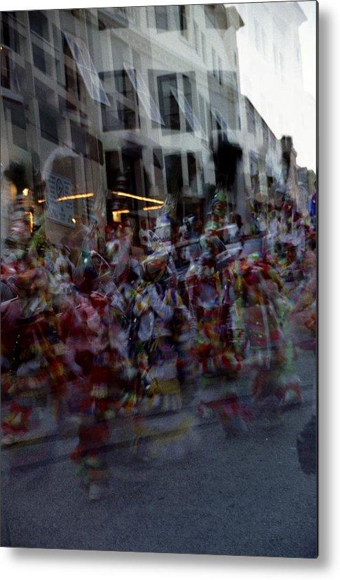 Junkanoo Bermuda Island Atlantic Ocean Dance Music Parade Double Exposure Performance Youth Costume Street Move Movement Celebrate Celebration Party Building Carnival Metal Print featuring the photograph Junkanoo Double Dance by Heather Kirk