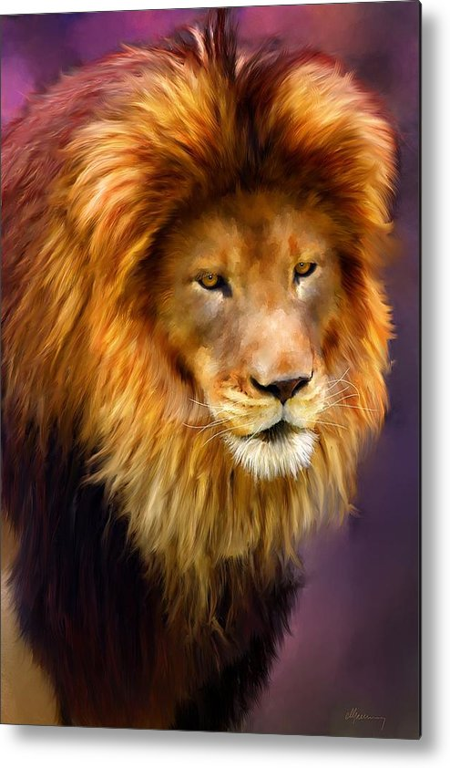Pet Portraits Metal Print featuring the painting King by Michael Greenaway