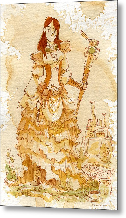 Steampunk Metal Print featuring the painting Lady Codex by Brian Kesinger