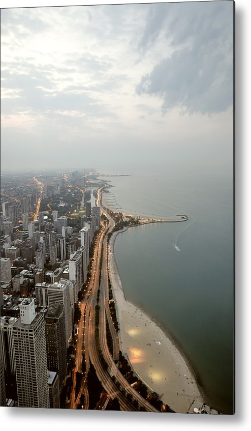 Vertical Metal Print featuring the photograph Lake Michigan And Chicago Skyline. by Ixefra