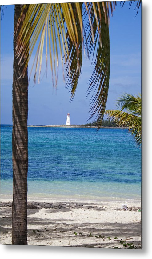 Lighthouse Metal Print featuring the photograph Lighthouse Under Palm by Joshua Francia
