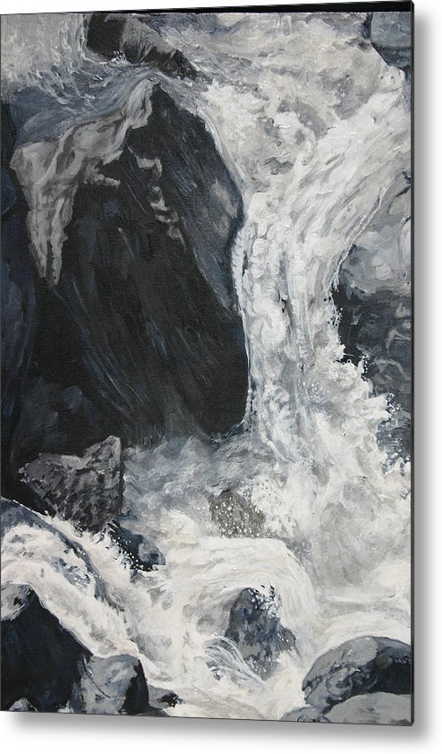 Water Metal Print featuring the painting Lower Vernal Black And White by Travis Day