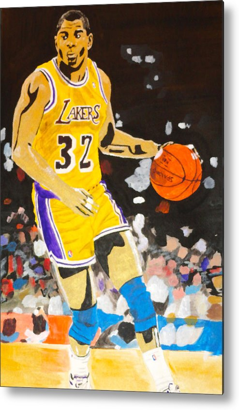 Magic Johnson Metal Print featuring the painting Magic Johnson by Estelle BRETON-MAYA