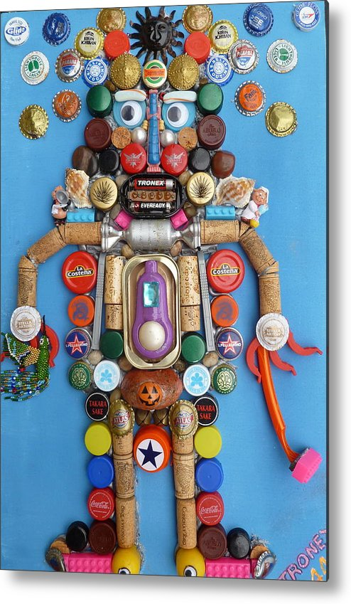 Metal Print featuring the painting Mayan Security God by Dickens Fourtyfour