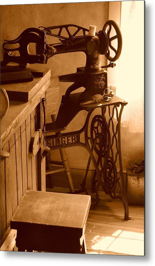 Sepia Metal Print featuring the photograph Mormon Singer Sewing Machine by Dennis Hammer