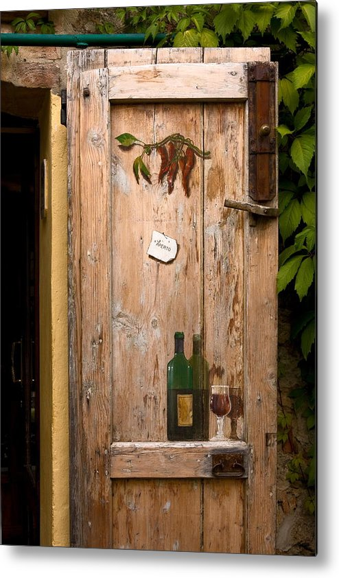 Old Door Metal Print featuring the photograph Old Door And Wine by Sally Weigand