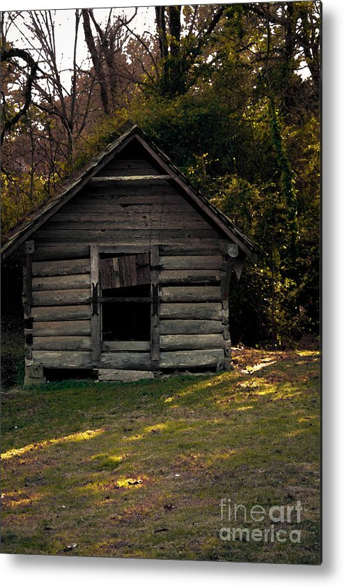 Log Cabin Metal Print featuring the photograph Old Log Cabin by Kim Henderson