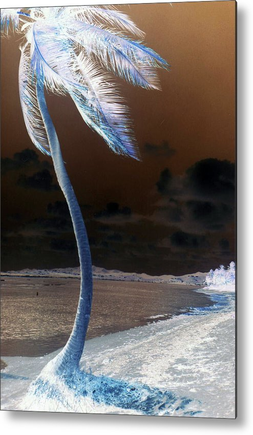 Palm Tree Metal Print featuring the digital art Palm Swaying In The Breeze by Firecrackinmama Boom Boom Boom