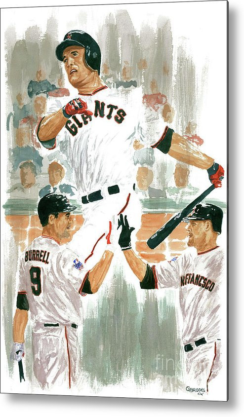 Pat Burrell Metal Print featuring the painting Pat Burrell Study 2 by George Brooks