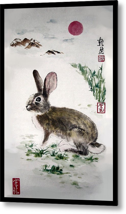Rabbit Metal Print featuring the painting Peaceful by Lilian Storino