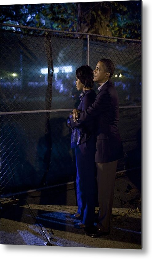 History Metal Print featuring the photograph President Obama Embraces Michelle by Everett