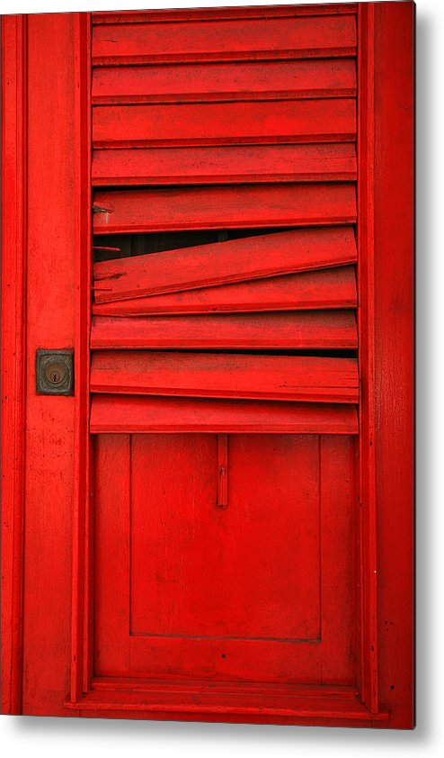Red Metal Print featuring the photograph Red Shutter by Timothy Johnson