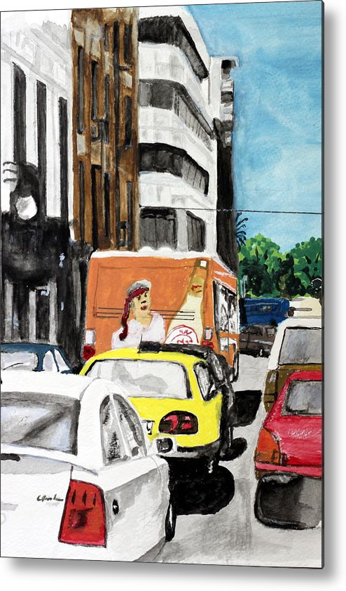 City Cars Vehicles Buildings Rush Hour Traffic Metal Print featuring the painting Rush Hour by Cathy Jourdan