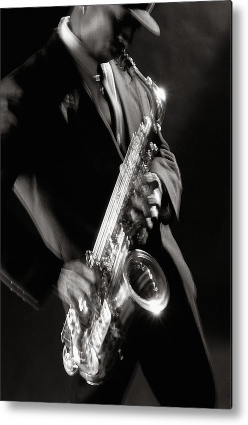 Sax Metal Print featuring the photograph Sax Man 1 by Tony Cordoza