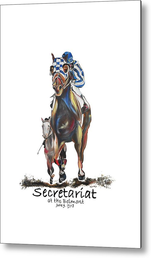 Secretariat Metal Print featuring the painting Secretariat At The Belmont Mural by Amanda Sanford