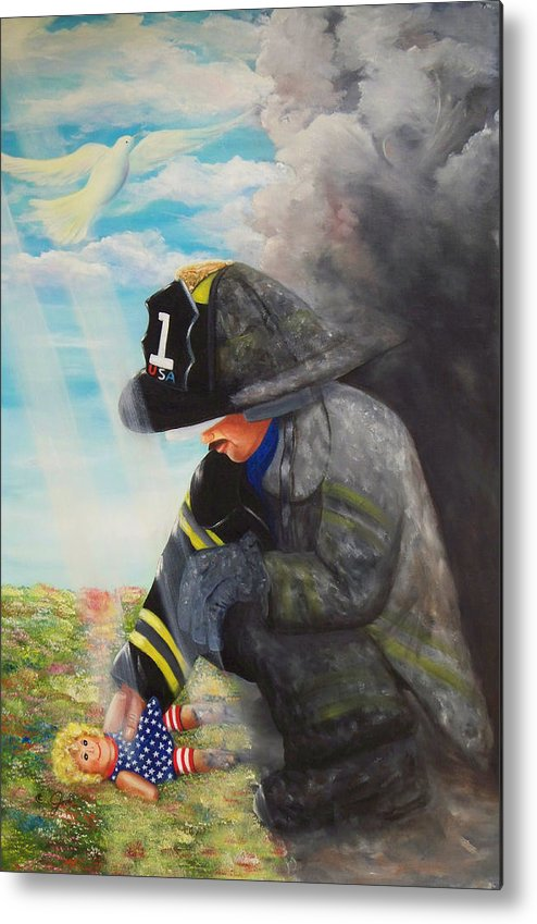 Portrait Metal Print featuring the painting September 11th by Joni McPherson