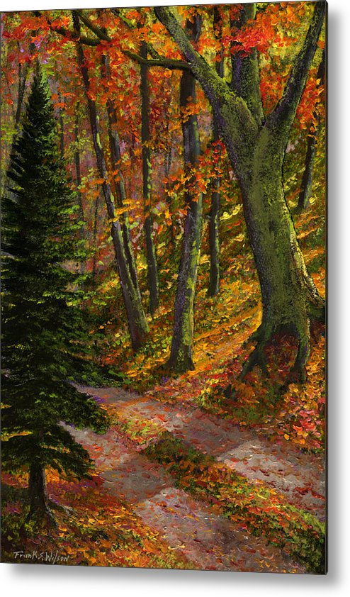 Road In The Woods Metal Print featuring the painting September Road by Frank Wilson