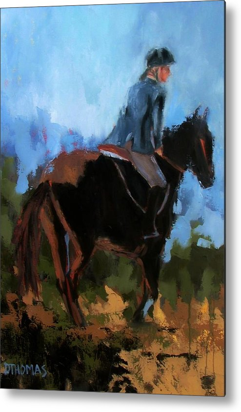 Horse Metal Print featuring the painting Setting Up The Jump by Donna Thomas