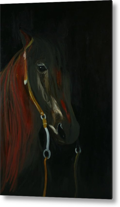 Horse Metal Print featuring the painting Shadow by Karen Rester