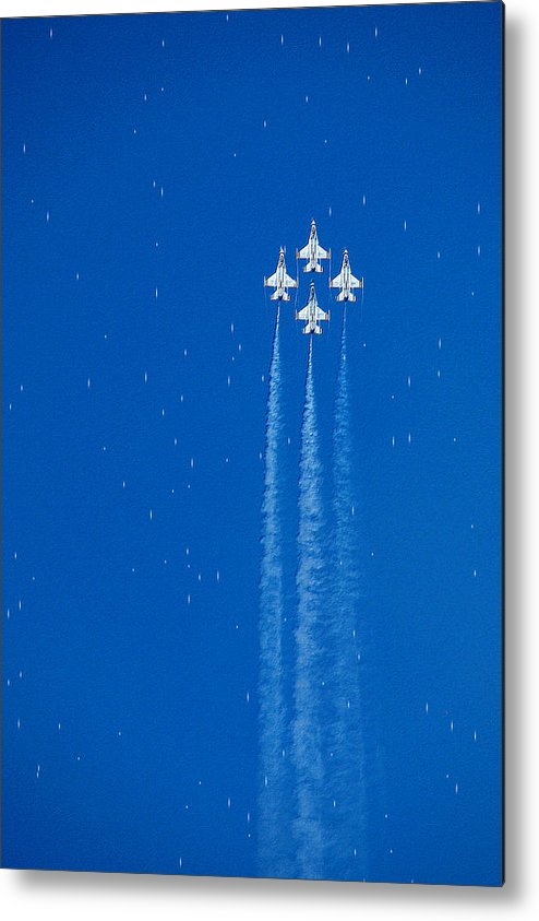 Aeroplane Air Airplane Blue Diamond Elite Fighter Force Four Jet Jets Military Perform Performance Pilot Plane Skill Sky Smoke Speed Strength Freedom Star Stars War Shooting Shoot Aim Up Brave Space Target Fast Metal Print featuring the photograph Shooting Stars by Paul Ge