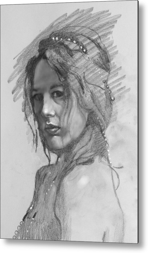 Portrait Metal Print featuring the drawing Sophia by Robert Bissett