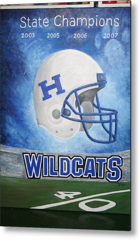 Football Metal Print featuring the painting State Champions by Melissa Wiater Chaney