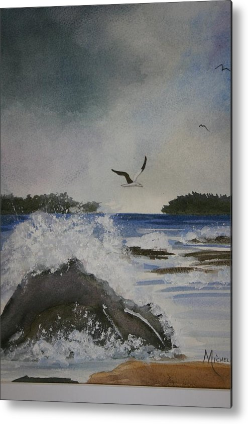 Ocean Metal Print featuring the painting Stormy Inlet by Michele Turney