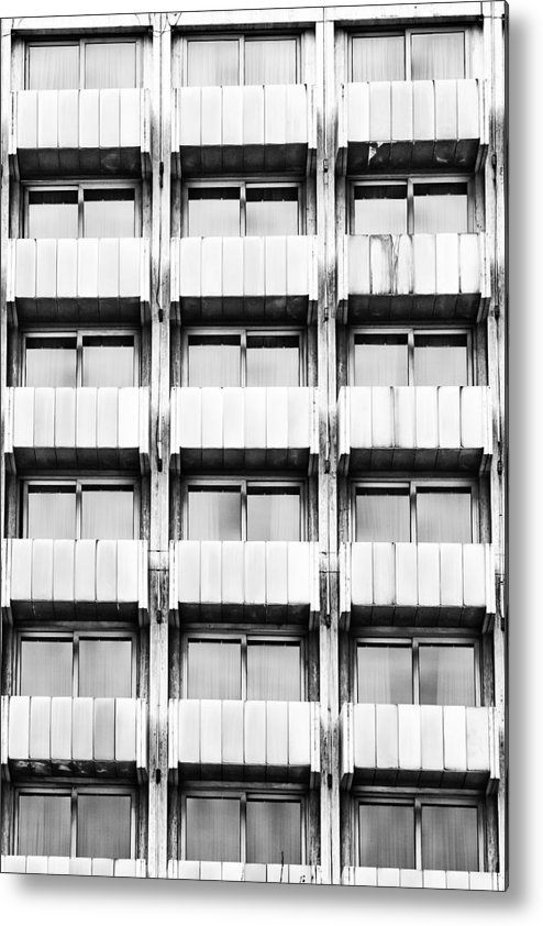 Building; Windows; Architecture; Modern; Urban; City; Tall; Glass; Structure; Exterior; Perspective; Symetry; Detail; Pattern; Background; Black And White; Bw; Symetrical; Symetrycal; Metal Print featuring the photograph Symetry by Gabriela Insuratelu