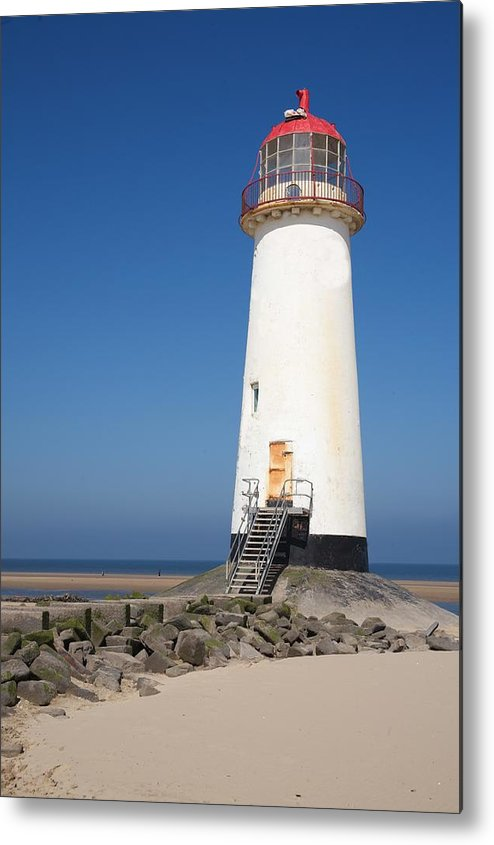 Lighthouse Metal Print featuring the photograph Talacre Lighthouse And Beach. by Christopher Rowlands