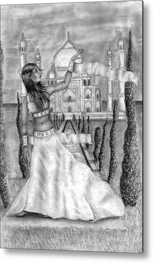 Taj Mahal Metal Print featuring the drawing The View by Scarlett Royal