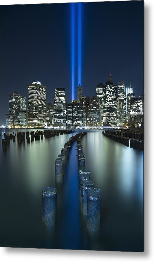 9-11 Metal Print featuring the photograph Tribute In Light by Evelina Kremsdorf