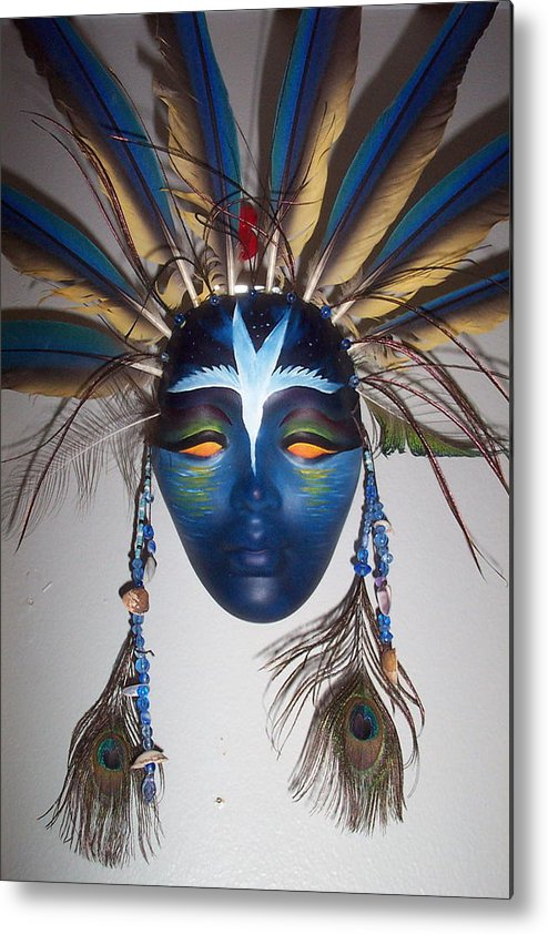 Mask Metal Print featuring the painting Water Face by Angelina Benson