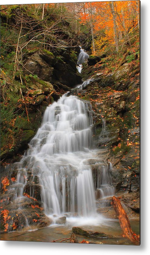 Waterfall Metal Print featuring the photograph Waterfall In Smugglers Notch by John Burk