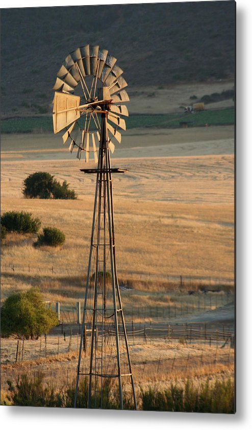 Windmill Metal Print featuring the photograph Windmill At Dusk by Melanie Rainey