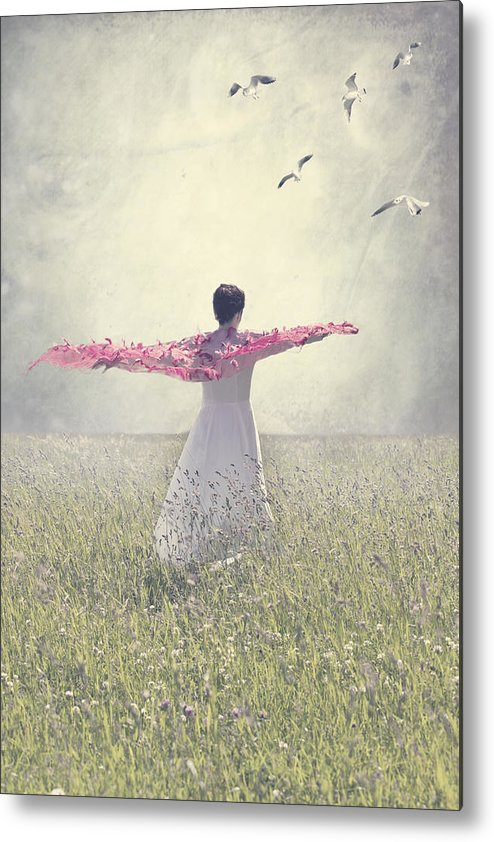 Female Metal Print featuring the photograph Woman On A Lawn by Joana Kruse