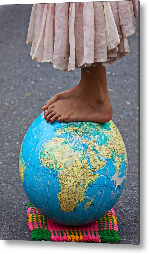 Foot Metal Print featuring the photograph Young Woman Standing On Globe by Garry Gay