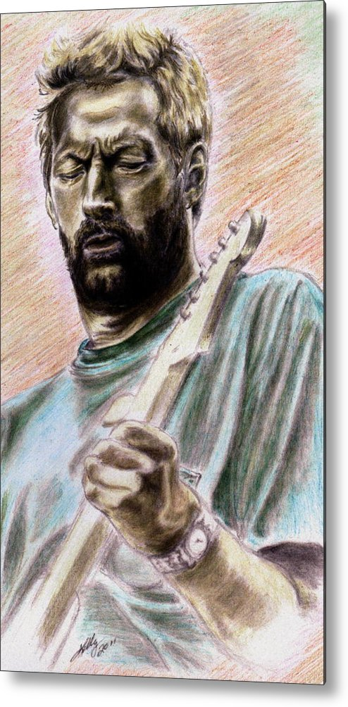 Eric Clapton Portrait Metal Print featuring the drawing Clapton by Kathleen Kelly Thompson