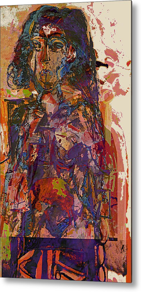 Cubist Metal Print featuring the painting Seated Woman by Noerdin Morgan