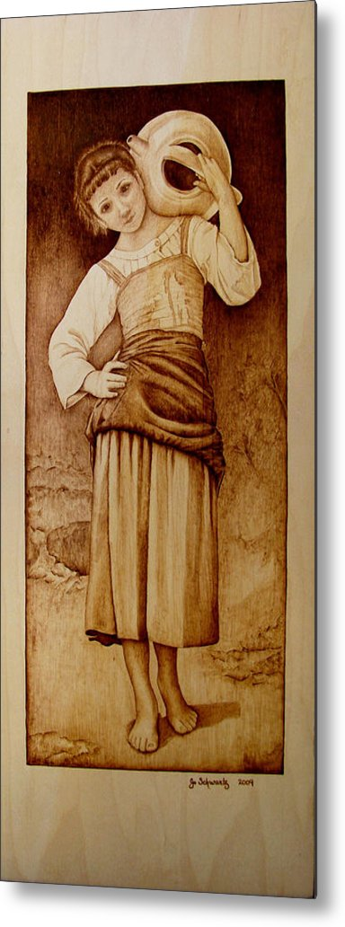 Pyrography Metal Print featuring the pyrography William Bouguereau Water Carrier by Jo Schwartz