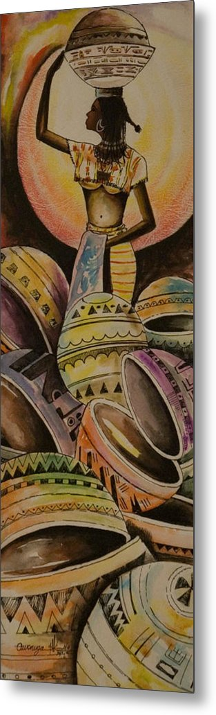 Metal Print featuring the painting Calabash Woman by Alfred Awonuga