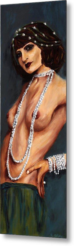 Nude Metal Print featuring the painting Esmeralda by Robin DeLisle