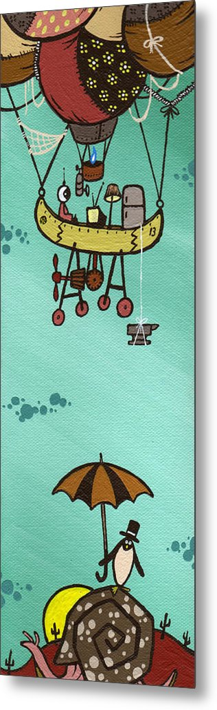 Baloon Metal Print featuring the painting What Goes Up.... by Dan Keough