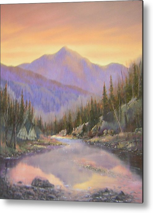 Landscape Metal Print featuring the painting 060526-2024 Times Past  by Kenneth Shanika