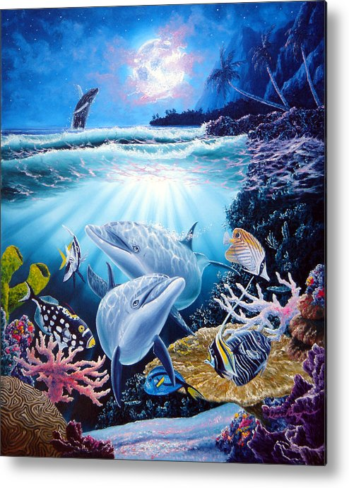 Dolphin Metal Print featuring the painting Dolphin Dream by Daniel Bergren