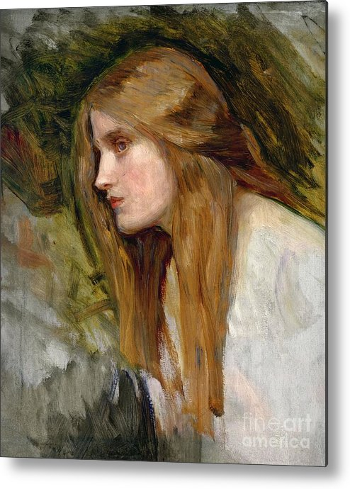 Head Metal Print featuring the painting Head Of A Girl by John William Waterhouse