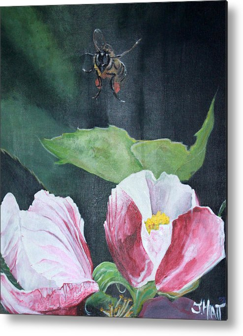 Apple Blossom Metal Print featuring the painting Busy Bee by Jhiatt