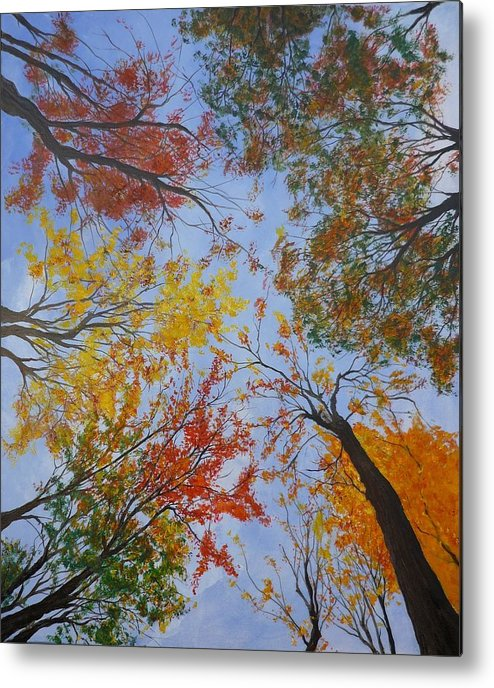 Tree Metal Print featuring the painting Autumn Sky by Lizzy Forrester