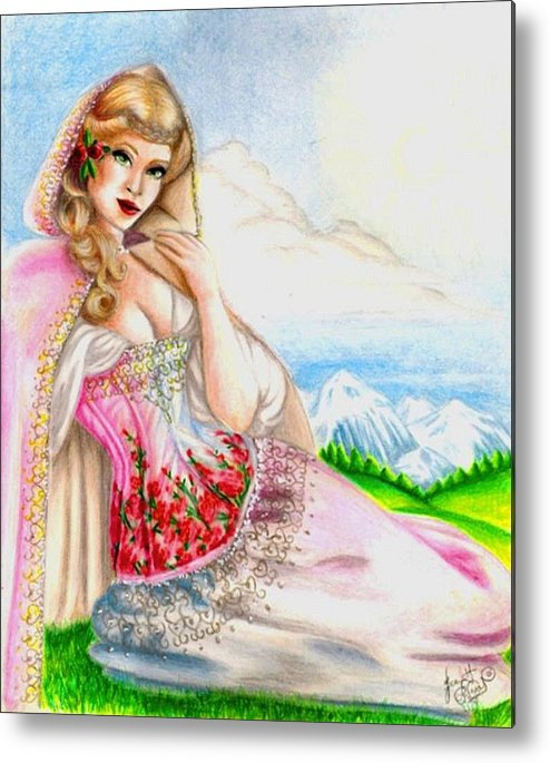Figure Metal Print featuring the drawing Beauty Of The View by Scarlett Royal
